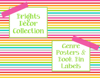 Brights Decor: Genre Posters & Book Bin Labels