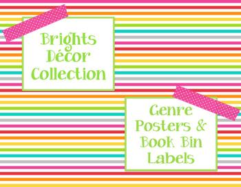 Brights Decor: Genre Posters & Book Bin Labels