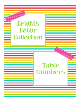 Brights Decor: Table Numbers
