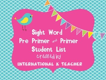 Brights Dolch Pre Primer and Primer Sight Words Ref Card for Tables or Folders