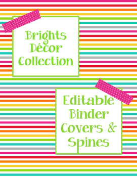 Brights Decor: Editable Binder Covers & Spines