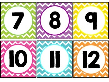 Chevron Brights Number Line Cards 1 to 200