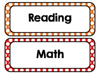 Brights Polka Dot Subject Area Labels: Freebie, Classroom Decor, Organization