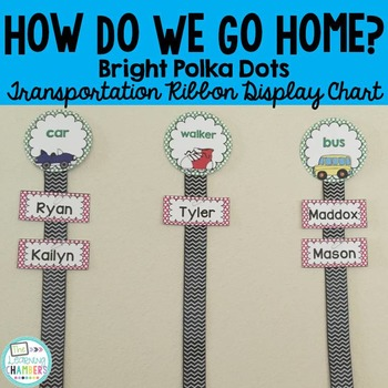 Brights Polka Dot Transportation Labels: Editable, Classroom Decor
