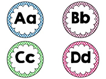 Brights Polka Dot Word Wall Headers: Editable, Classroom Decor, Alphabet