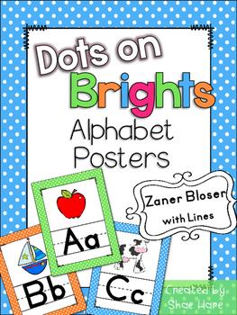 Brights Polka Dots Themed Alphabet Posters Handwriting {Zaner Bloser} anchor