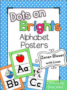 Brights Polka Dots Themed Alphabet Posters Handwriting {Za