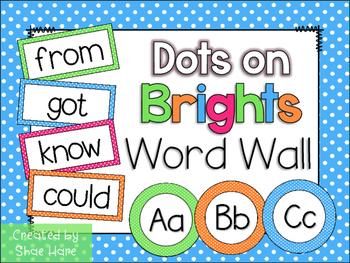 Brights Polka Dots Word Wall and Headers Fry Dolch Sight Words