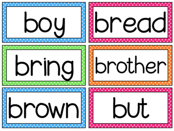 Brights Polka Dots Word Wall and Headers Fry Dolch Sight Words