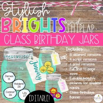 Brights & Shiplap Class Birthday Mason Jars - EDITABLE