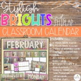 Brights & Shiplap Classroom Calendar Set