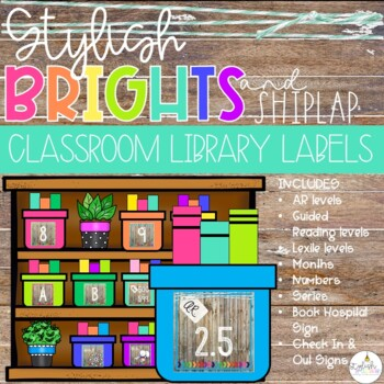 Brights Shiplap Classroom Library Labels Editable By Stylish In