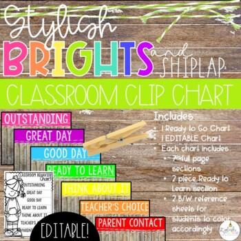 Brights & Shiplap Behavior Clip Chart - EDITABLE
