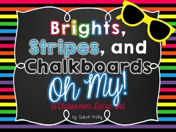 Brights, Stripes, and Chalkboards Classroom Decor Set