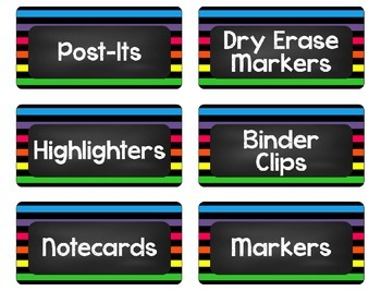Brights, Stripes, and Chalkboards Teacher Toolbox Labels
