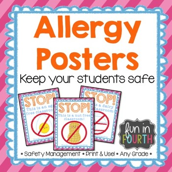 Allergy Posters Bright Themed