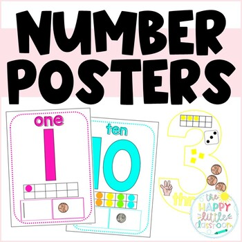 Brights Themed Number Posters