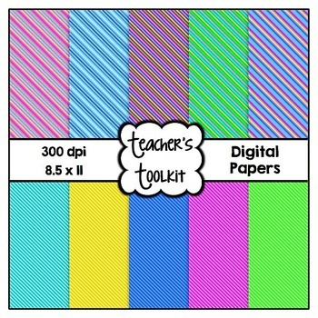 'Brights' Thin Stripes! Digital Background Papers {8.5 x 1