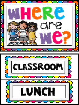Brights Where are We? Classroom Sign