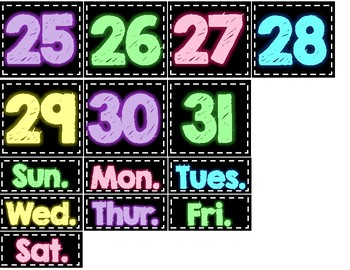Brights and Black Calendar
