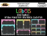 Brights and Black Chevron and Polka Dot Labels- EDITABLE