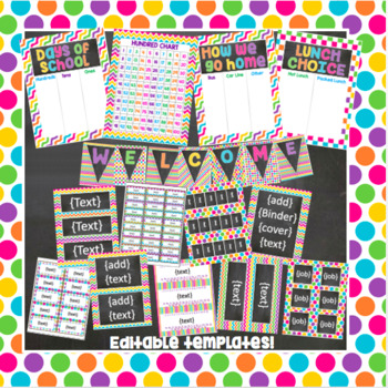 Brights and Chalkboard Complete Classroom Decor Kit