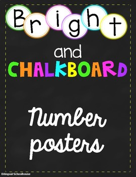 Brights and Chalkboard number line posters