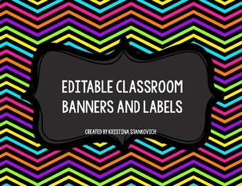 Brights and Chevron Editable Banner, Labels, and Focus Wall Headers