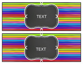 Brights and Stripes Editable Banner, Labels, and Focus Wall Headers