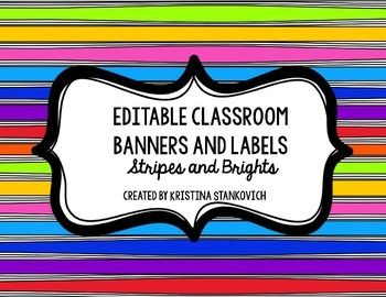 Brights and Stripes Editable Banner, Labels, and Focus Wal