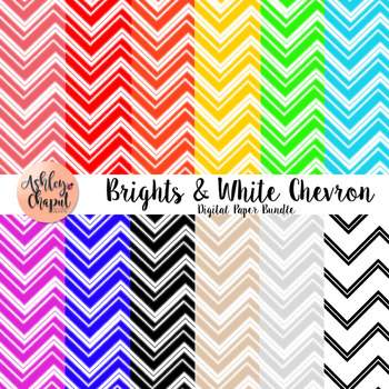 Brights and White Chevron Digital Paper