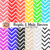 Brights and White Chevron Digital Paper