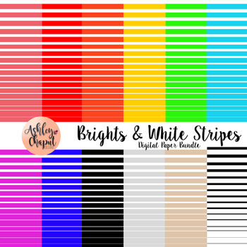 Brights and White Stripe Digital Paper or Background
