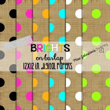 Brights on Burlap Digital Papers {POLKA DOT FREEBIE}
