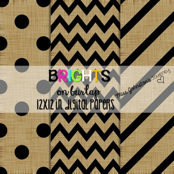 Brights on Burlap Digital Papers