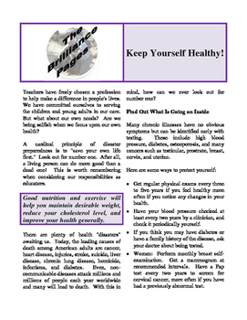 Brilliance Pages - Checking Your Health Curriculum; Keep Yourself Healthy!