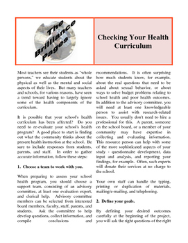 Brilliance Pages - Checking Your Health Curriculum; Keep Y