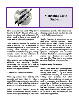 Brilliance Pages - Fear Mathematics; Math Anxiety; Motivating Math