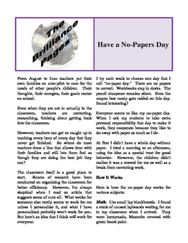 Brilliance Pages - Health Issues; Care for Environment; No-Papers Day