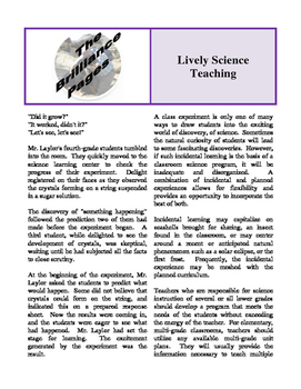 Brilliance Pages - Lively Science Teaching; Making Education Work