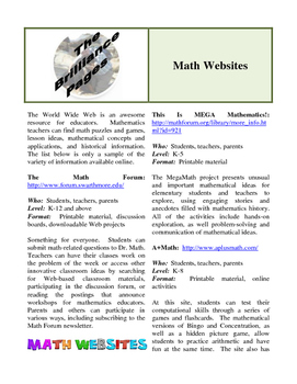 Brilliance Pages - Math Websites; Teaching Critical Thinking