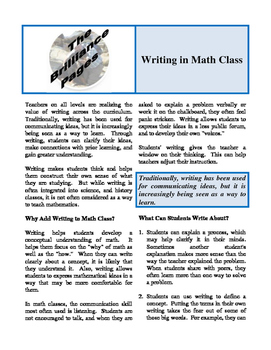 Brilliance Pages - Revitalize Mathematics; Language in Math; Writing in Math