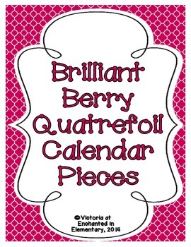 Brilliant Berry Quatrefoil Calendar Numbers, Months and Days
