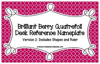 Brilliant Berry Quatrefoil Desk Reference Nameplates Version 2