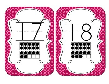 Brilliant Berry Quatrefoil Number Cards 1-20
