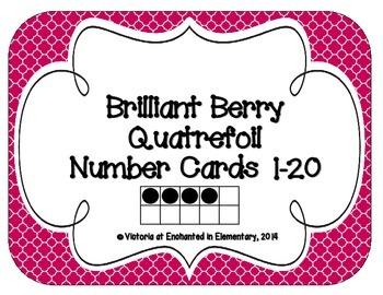 Brilliant Berry Quatrefoil Number Cards 1-20