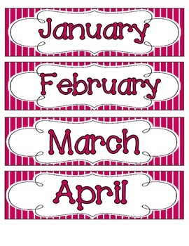 Brilliant Berry Stripes Calendar Numbers, Months and Days
