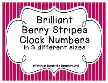Brilliant Berry Stripes Clock Numbers