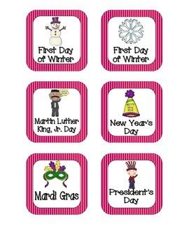 Brilliant Berry Stripes Holiday Calendar Pieces