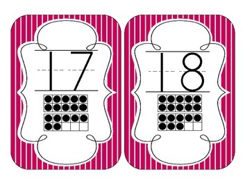 Brilliant Berry Stripes Number Cards 1-20